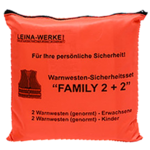 Leina KFZ Pannenwesten Warnwesten Weste Set Family 4er Pack Orange