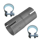 Rohr Reduzierstück 40mm auf 43mm Auspuff Adapter Bandstahl Schellen