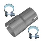Rohr Reduzierstück 45mm auf 50mm Auspuff Adapter Bandstahl Schellen