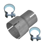 Rohr Reduzierstück 50mm auf 65mm Auspuff Adapter Bandstahl Schellen