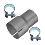 Rohr Reduzierstück 60mm auf 70mm Auspuff Adapter Bandstahl Schellen