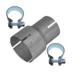 Rohr Reduzierstück 60mm auf 76mm Auspuff Adapter Bandstahl Schellen