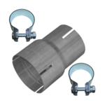 Rohr Reduzierstück 65mm auf 76mm Auspuff Adapter Bandstahl Schellen