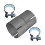 Rohr Reduzierstück 70mm auf 76mm Auspuff Adapter Bandstahl Schellen